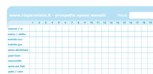 programma budget familiare mensile