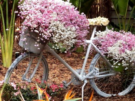 arredare giardino bici