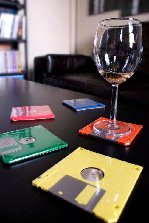 floppy disk poggiabicchieri riciclo