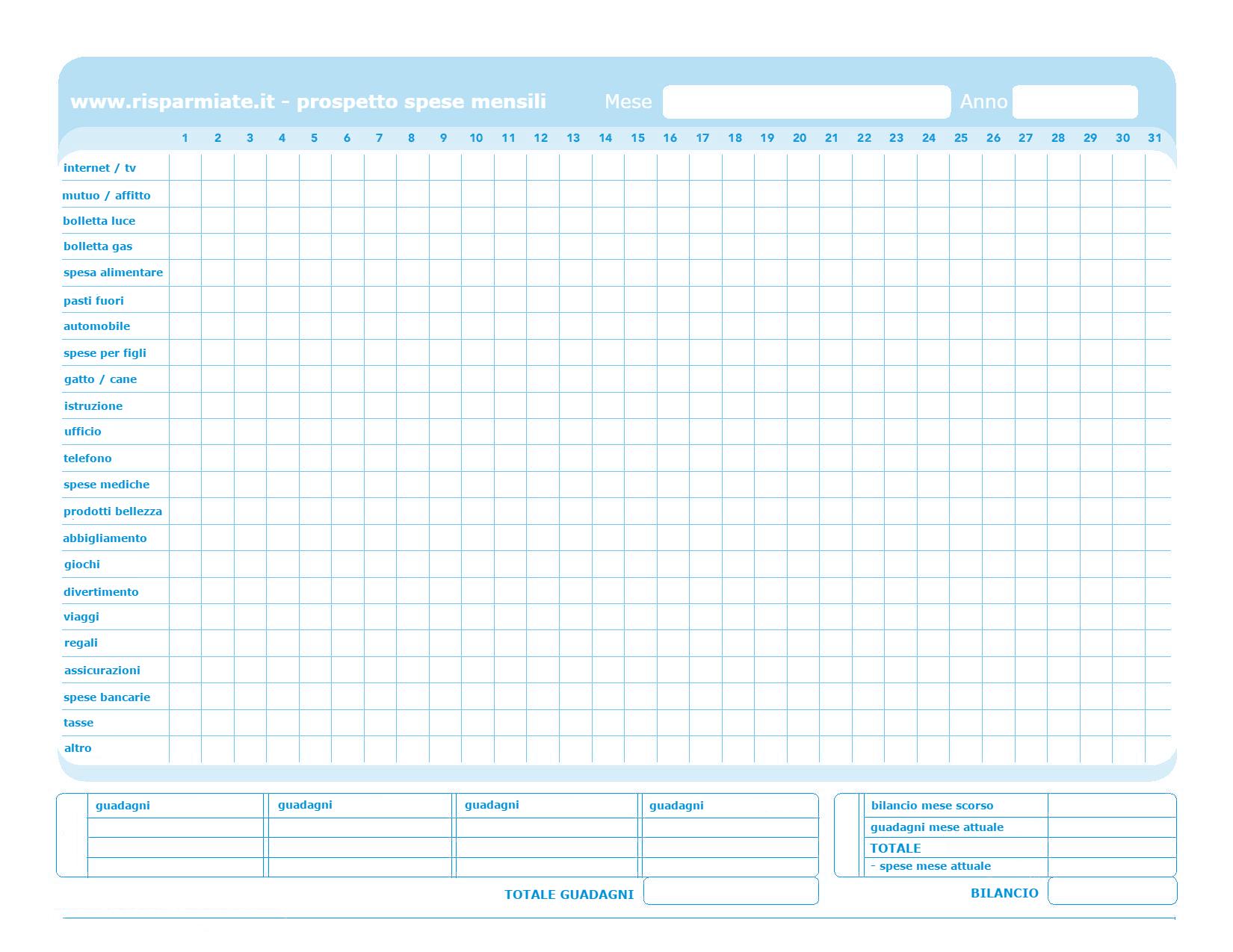 Tenere sotto controllo il bilancio familiare tabelle e app - Spese familiari ...