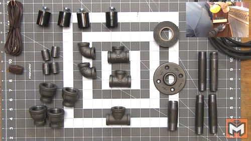materiali lampada con tubi idraulici