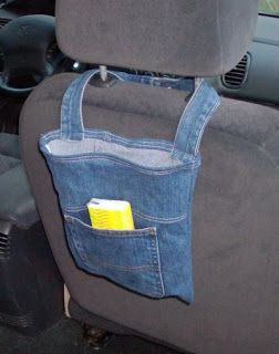 porta oggetti riciclo jeans