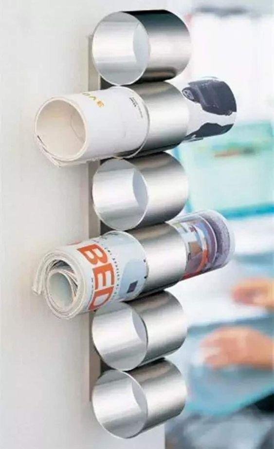 porta riviste con tubi pringles