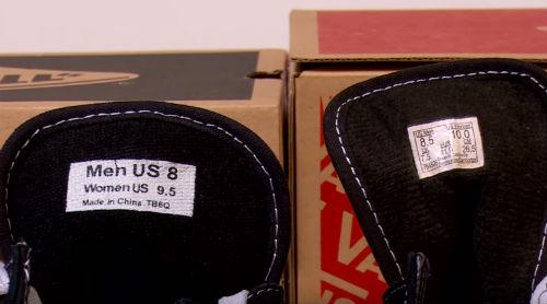 vans vere false etichetta misure