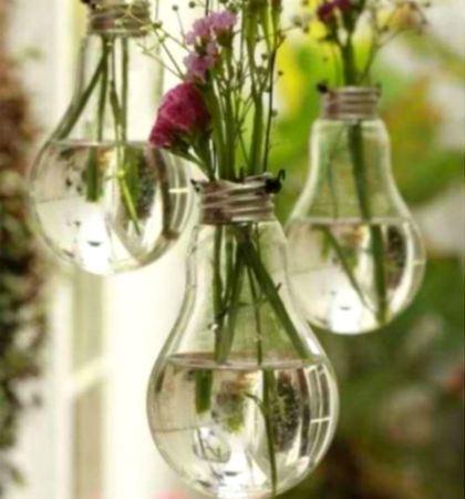 vasetti per le piante con vecchie lampadine
